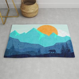 Wild mountain sunset landscape Rug