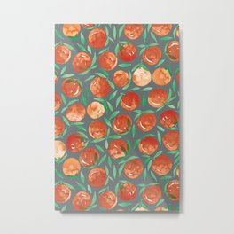 Winter Oranges | Grey Background Metal Print