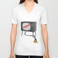 tv V-neck T-shirts featuring Freedom Television by mailboxdisco
