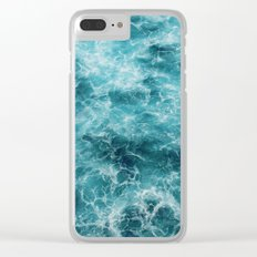 Blue Ocean Waves Clear iPhone Case