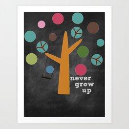 Never Grow Up Tree & Swing Kid's Room Decor Art Print