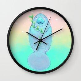 Peace Love Manatee Wall Clock