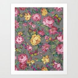 butterflies & roses Art Print