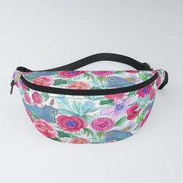 Bluebirds floral Fanny Pack