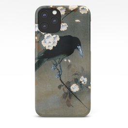 Vintage Japanese Crow and Blossom Woodblock Print iPhone Case