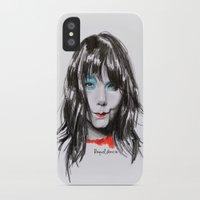 bjork iPhone & iPod Cases featuring Bjork Portrait by Raquel García Maciá