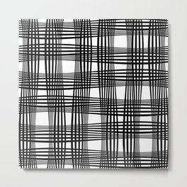 Gingham Style // Black on White Metal Print