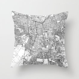 Santiago White Map Throw Pillow