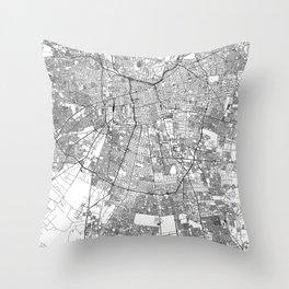 Santiago White Map Throw Pillow