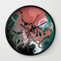 cthulhu Wall Clocks featuring cthulhu by Nahum Ziersch