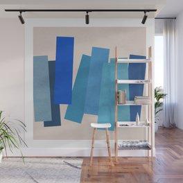 Blue Rectangles Wall Mural