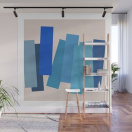 Blue Rectangles Wall Mural