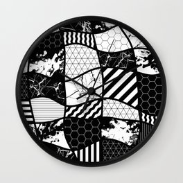 Crazy Patchwork (Abstract, black and white, geometric designs) Wall Clock