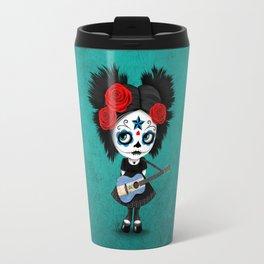 Day of the Dead Girl Playing Nicaraguan Flag Guitar Travel Mug