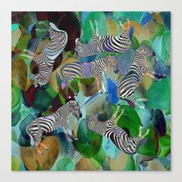 Colorful Zebras QW Canvas Print
