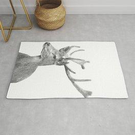 Black and white deer animal portrait Rug