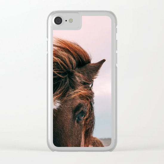 Horse #sunset Clear iPhone Case
