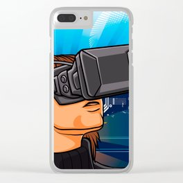 illustration of man  with headset glasses Clear iPhone Case