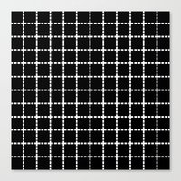 Dotted Grid Black Large Canvas Print