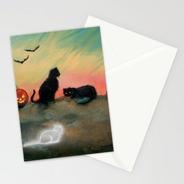 Ghost Cat Halloween Fantasy Art by Molly Harrison Stationery Cards