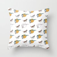 tits Throw Pillows featuring Great Tits eat Grasshoppers by The Bird Draws