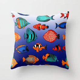 Peces tropicales Throw Pillow