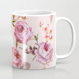Blush Pink and Red Watercolor Floral Roses Coffee Mug