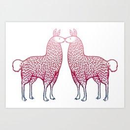 Llamas Kissing Art Print