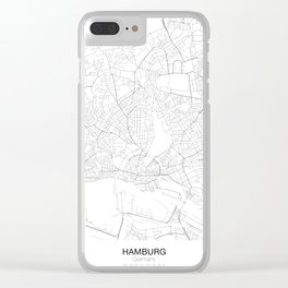 Hamburg, Germany Minimalist Map Clear iPhone Case