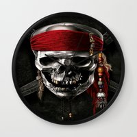 pirate Wall Clocks featuring PIRATE by Acus