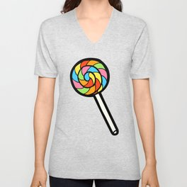 Rainbow Lollipop Pattern Unisex V-Neck