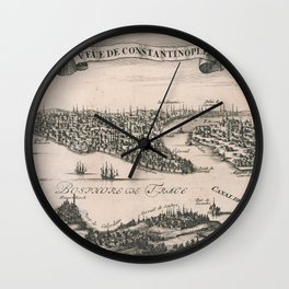 Vintage Pictorial Map of Constantinople (1696) Wall Clock