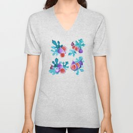 Watercolor Figs Fruit and Leaves Unisex V-Neck