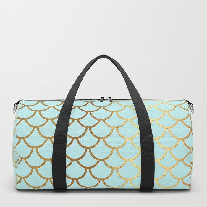 Aqua Teal And Gold Foil MermaidScales - Mermaid Scales Duffle Bag