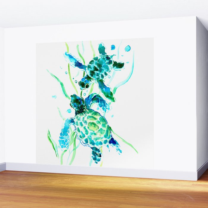 Sea Turtles, Turquoise blue Design Wall Mural