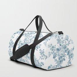 Vintage blue white bohemian elegant floral Duffle Bag