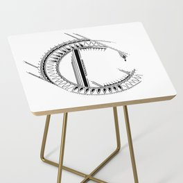 'C' Bali Alphabet Illustration by Hannah Stouffer Side Table