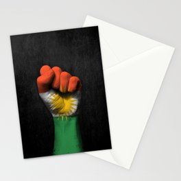 Kurdish Flag on a Raised Clenched Fist Stationery Cards