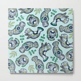 Majestic Folk Art Manatees - Pattern on Pastel Blue Metal Print