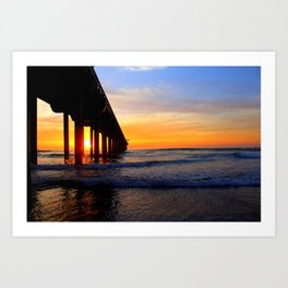 Scripps Pier - Sunset Splash Art Print