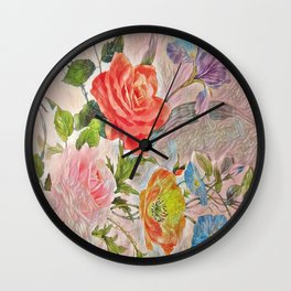 Spring Floral - Painterly Wall Clock