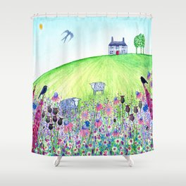 Summer Meadow, landscape painting Shower Curtain