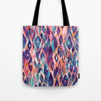 ikat Tote Bags featuring Mystical Ikat by Nikkistrange