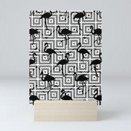B&W Geometric Flamingos #society6 #decor #buyart Mini Art Print