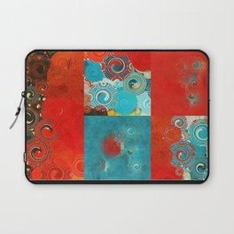 Swirly Red and Turquoise Mosaic Laptop Sleeve