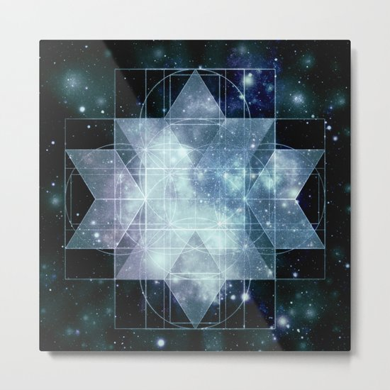 Galaxy Sacred Geometry Rhombic Hexecontahedron Blue Metal Print