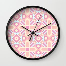 Pink teal yellow ethnic moroccan motif pattern Wall Clock