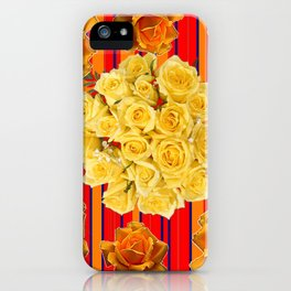 DECORATIVE YELLOW ROSES RED STRIPE PATTERN COLLAGE iPhone Case