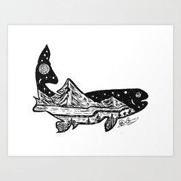 """Trout Dreams"" Hand Drawn Double Exposure Fishing Camping Art Art Print"