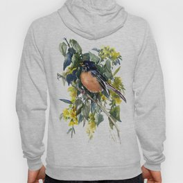 American Robin on Linden Tree, Deep blue Cottage Woodland style design Hoody